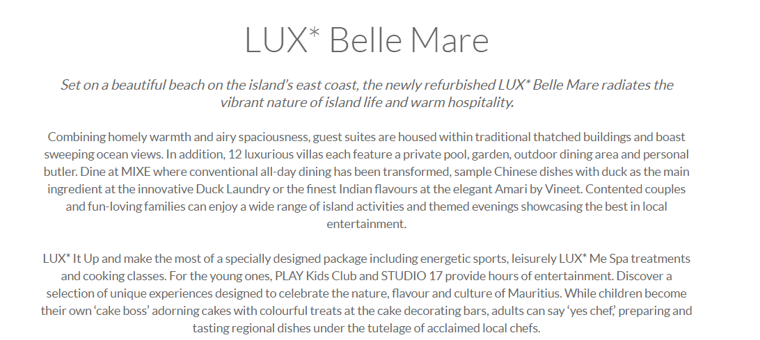 LUX Belle Mare